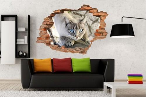 Naklejki Na ścianę Kot Koty Zwierzęta Widok 3d 2117 Zwierzęta 3d