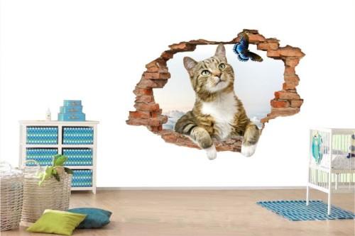 Naklejki ścienne Zwierzęta Kot 3d Bajki 1036 Postacie Z Bajek 3d