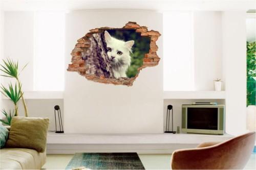 Naklejki Na ścianę Kot Koty Zwierzęta Widok 3d 2119 Zwierzęta 3d