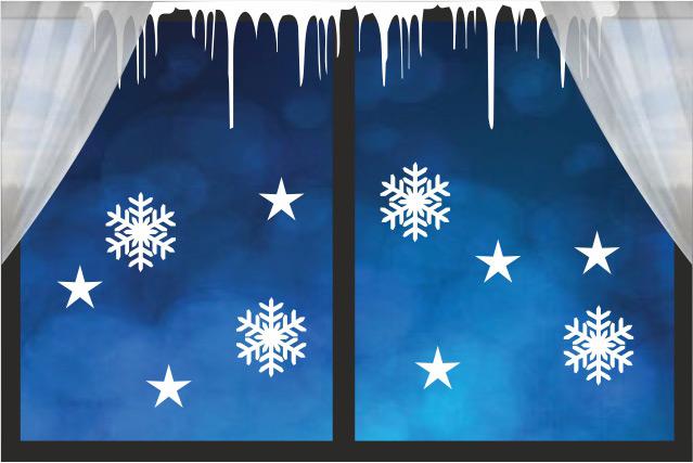 świąteczne naklejki śnieg, gwiazdki,  ozdoby na szybę, okno, ścianę