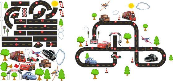 Kolorowe naklejki dla dzieci zestaw Auta, Cars, Tor wyścigowy, Zygzak - Zestaw naklejek - wymiary zestawu