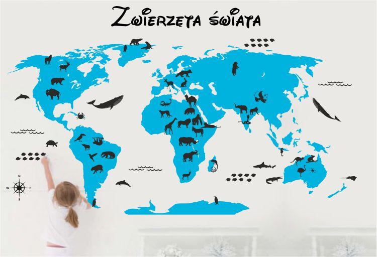 Mapa świata dla dzieci ZWIERZĘTA ŚWIATA - naklejki ścienne, szablony malarskie, naklejki na ścianę mapa świata