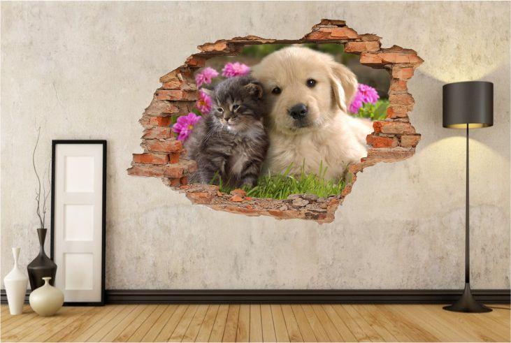 Naklejki Na ścianę Pies Kot Zwierzęta Szczeniak Widok 3d 2113