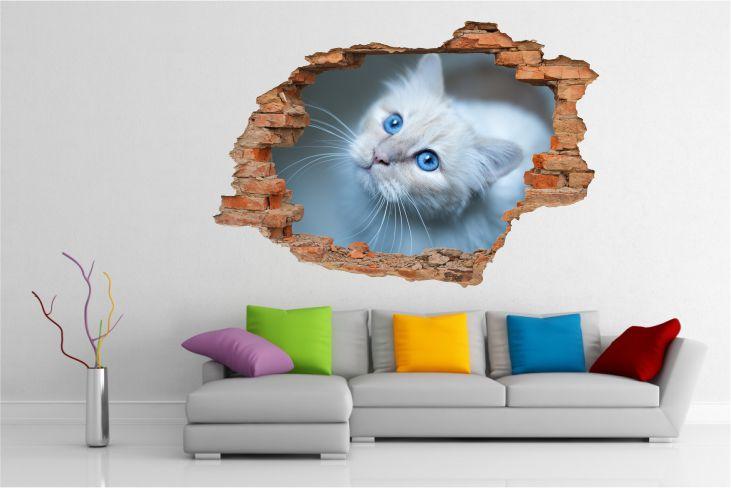 Naklejki Na ścianę Kot Koty Zwierzęta Widok 3d 2120 Zwierzęta 3d
